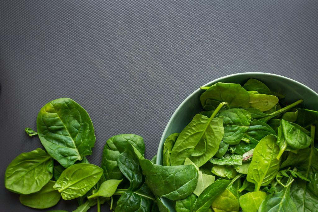 Image of a bowl of spinach - related to benefits of eye health