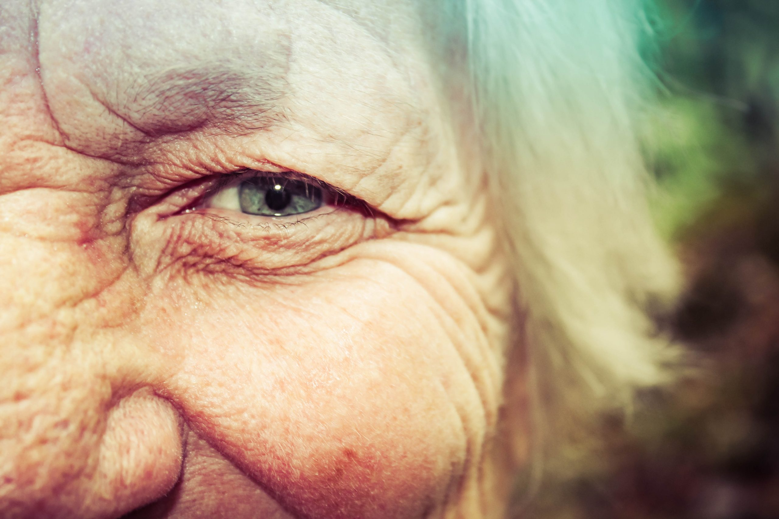 Close up of older lady's face focusing on her eye