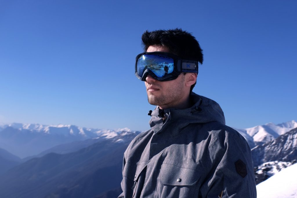 Image of a man wearing winter sun protection.