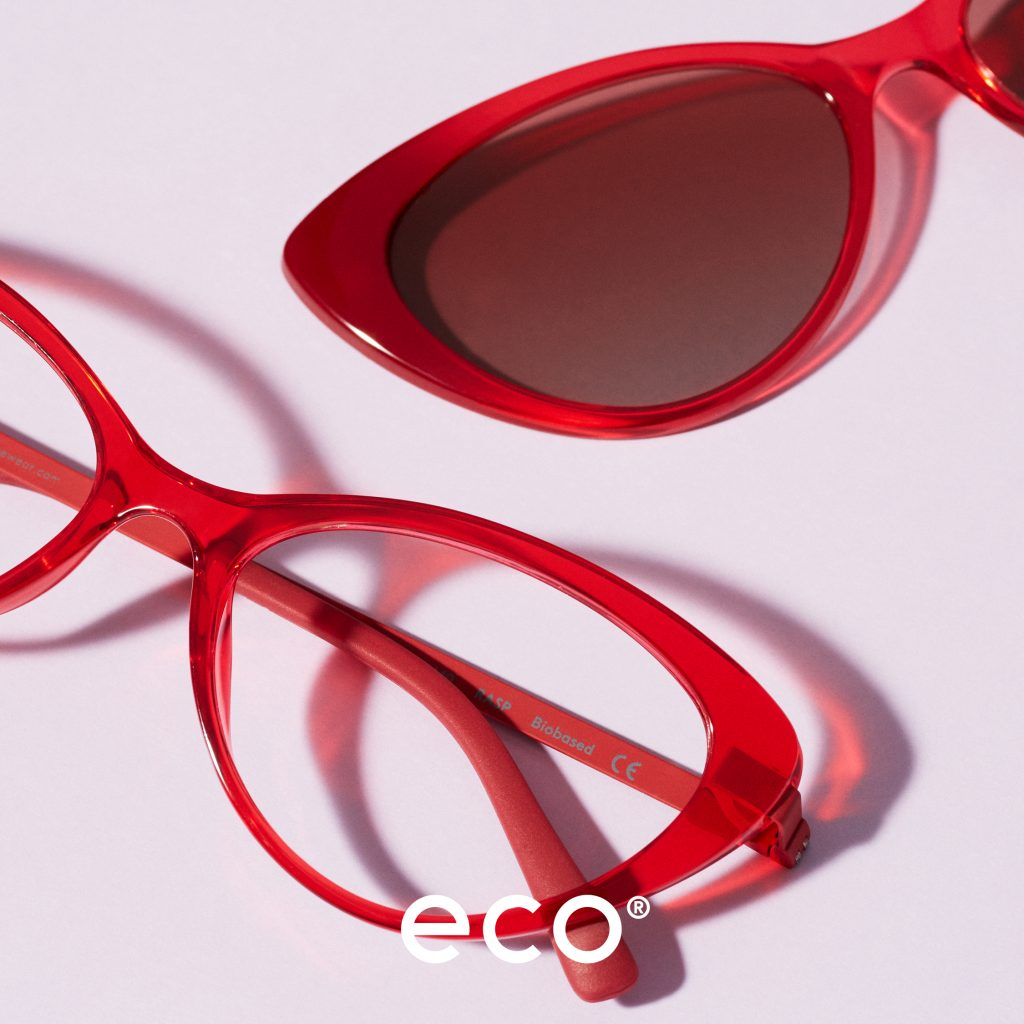 Image of red cat eye glasses and sun clip
